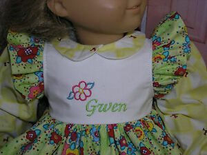 Gwen-Embroidered-Monogram-Name-Flower-Dress-18-034-Doll-clothes-fits-American-Girl