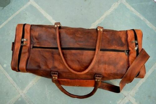 Bag Real Leather Travel Luggage Handmade Large Duffel Gym Carry On Goat Brown