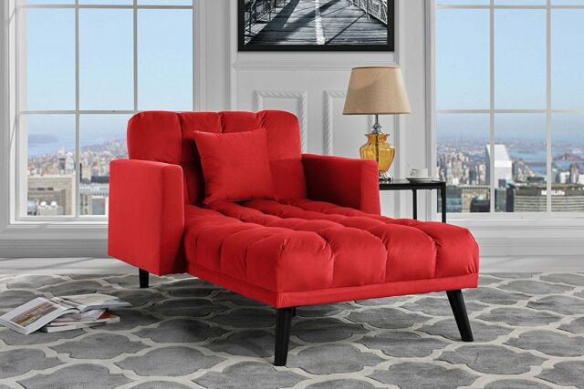 Red Velvet Chaise Lounge Chair Recliner Mid-century Sleeper Sofa Futon  Living