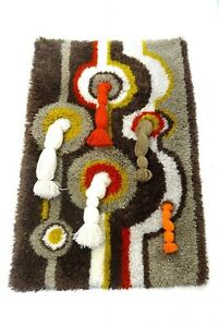 RARE-EAMES-PANTON-ABSTRACT-MID-CENTURY-VTG-WALL-ART-WOOL-CARPET-COLANI-ERA
