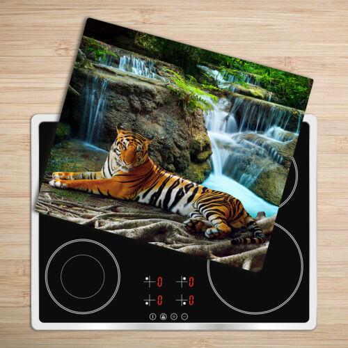 Glas-Herdabdeckplatte Ceranfeldabdeckung Spritzschutz 60x52 Tiger Wasserfall
