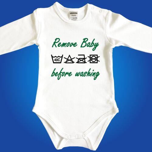 Babybody Baby-Body Remove Baby before washing Babyparty Geschenk Geburt