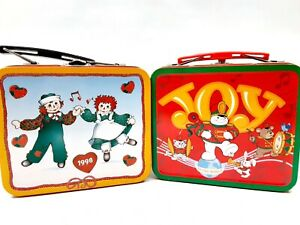 Snowden & Friends + Raggedy Ann & Andy Tin Christmas Holiday Lunchboxes