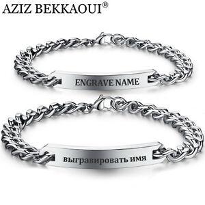 Image Is Loading Customized Bracelet Stainless Steel Women Men Id