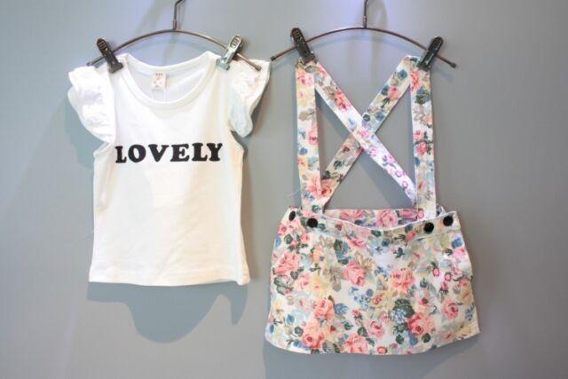2pcs Suit Kids Girls T-shirt+Floral Braces Skirt Overalls Dress Outfits Set 2-7Y