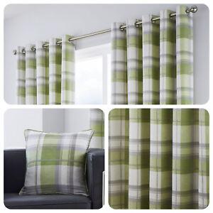 Fusion-BALMORAL-CHECK-Green-Tartan-100-Cotton-Eyelet-Curtains-Cushions