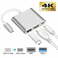 UK Type C to USB-C 4K HDMI USB 3.0 3 in 1 Hub Adapter Cable For Apple Macbook