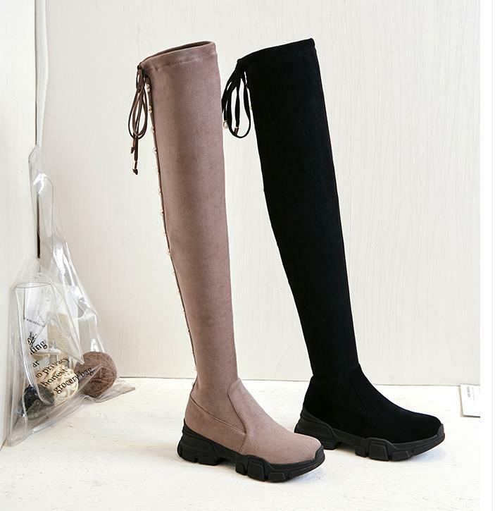 New Ladies Lace Up Round Toe Toe Toe Block Heels Knee High Boots Leisure Outdoors shoes 82b949