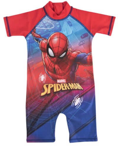 Spiderman Sun Suit All In One Boys Swimwear Swimming Beach Holiday Summer Size