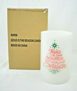 """Jesus is the Reason for the Season #40908 6"""" Electronic Flameless Pillar Candle"""