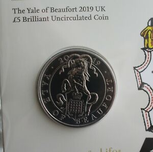 NEW-Royal-Mint-2019-Queen-039-s-Beasts-Yale-of-Beaufort-Five-Pound-5-UK-BU-Coin
