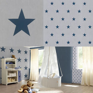 Dettagli su STAR Carta Da Parati Per Bambini Adolescenti STELLE camera da  letto di lusso Grande & Piccolo Grigio Blu Rasch- mostra il titolo originale