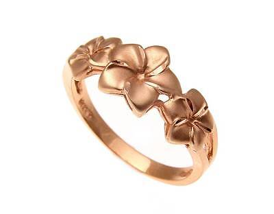 Precious Metal Without Stones Rational Solid 14k Oro Rosa Hawaiano 7mm-9mm-7mm Plumeria Anello A Fiore
