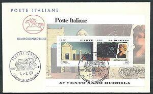 2000-ITALIA-FDC-CAVALLINO-FOGLIETTO-AVVENTO-L-039-ARTE-LA-SCIENZA-ED