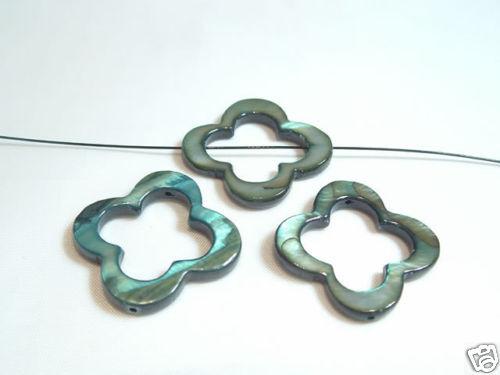 09 Verde Bosque 4 X 25mm Donut cuentas de flor de concha Teñido