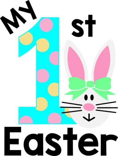 Mon premier jour de Pâques Tenue T-shirt /& Bib Babys Cadeau Rose Bunny Rabbit Babys