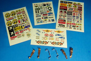 HO-Slot-Car-Parts-WIDE-PAN-Tyco-440-440x2-Pickup-Shoes-3-Sets-and-CLEAR-STICKERS