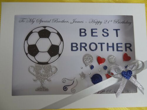 GIFT BOX Handmade Personalised Son Brother Dad Grandson Football Birthday Card