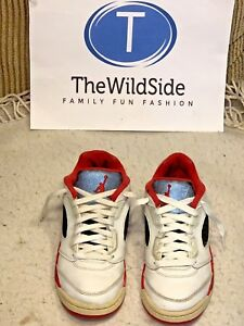 16da9779177e NICE NIKE AIR JORDAN RETRO 5 V LOW FIRE RED 314339-101 KIDS PS SHOES ...