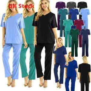 Women Men Medical Doctor Nursing Scrubs Hospital Uniform Top Pants Set Workwear