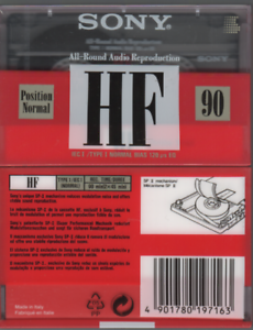 Sony-1x-HF-90-Cassette-K7-Tape-Vierge-Blank-neuf-1992-Italy