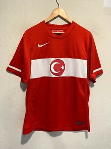Nike Dri Fit Turkey National Soccer Football Team Jersey Size LARGE Men's Red