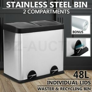Image Is Loading 48l Stainless Steel Dual Pedal Rubbish Bin Compartment
