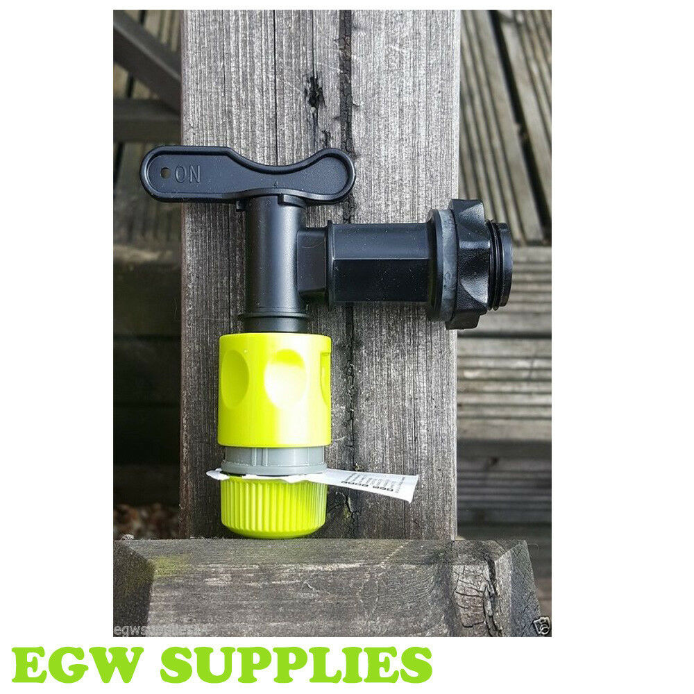 New Water Butt Tap and Garden Hose Quick Click Connector Set