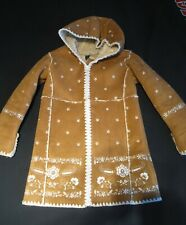 Girls Shearling Hooded Coat Faux Suede Jacket Faux Fur Outdoor Sizes 4 /& 5 NWT