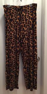 Animal-Print-Pajama-Lounge-Wear-Long-Pants-Womens-Size-1X-2X-3X-Cotton-Spandex