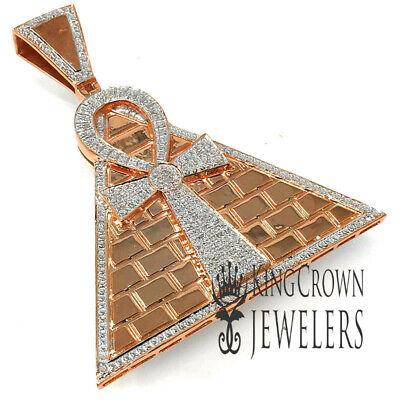 Real Diamond Egyptian Pyramid Ankh Cross Charm Pendant 10K Yellow Gold Finish