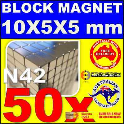 50x Strong Rare Earth Block Magnets 10X5X5mm N42 | Super Neodymium Fridge School