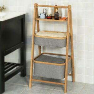sobuy bambus badregal mit ablage und 2 k rben standregal klappbar frg267 n ebay. Black Bedroom Furniture Sets. Home Design Ideas