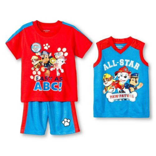 PAW Patrol Toddler Boys/' Basketball Blue Red 3 Piece Set Shorts /& 2 Shirts