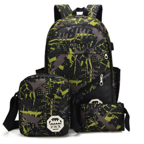 Waterproof Nylon Backpack Men Women/'s USB Charging Laptop Bag School Backpacks