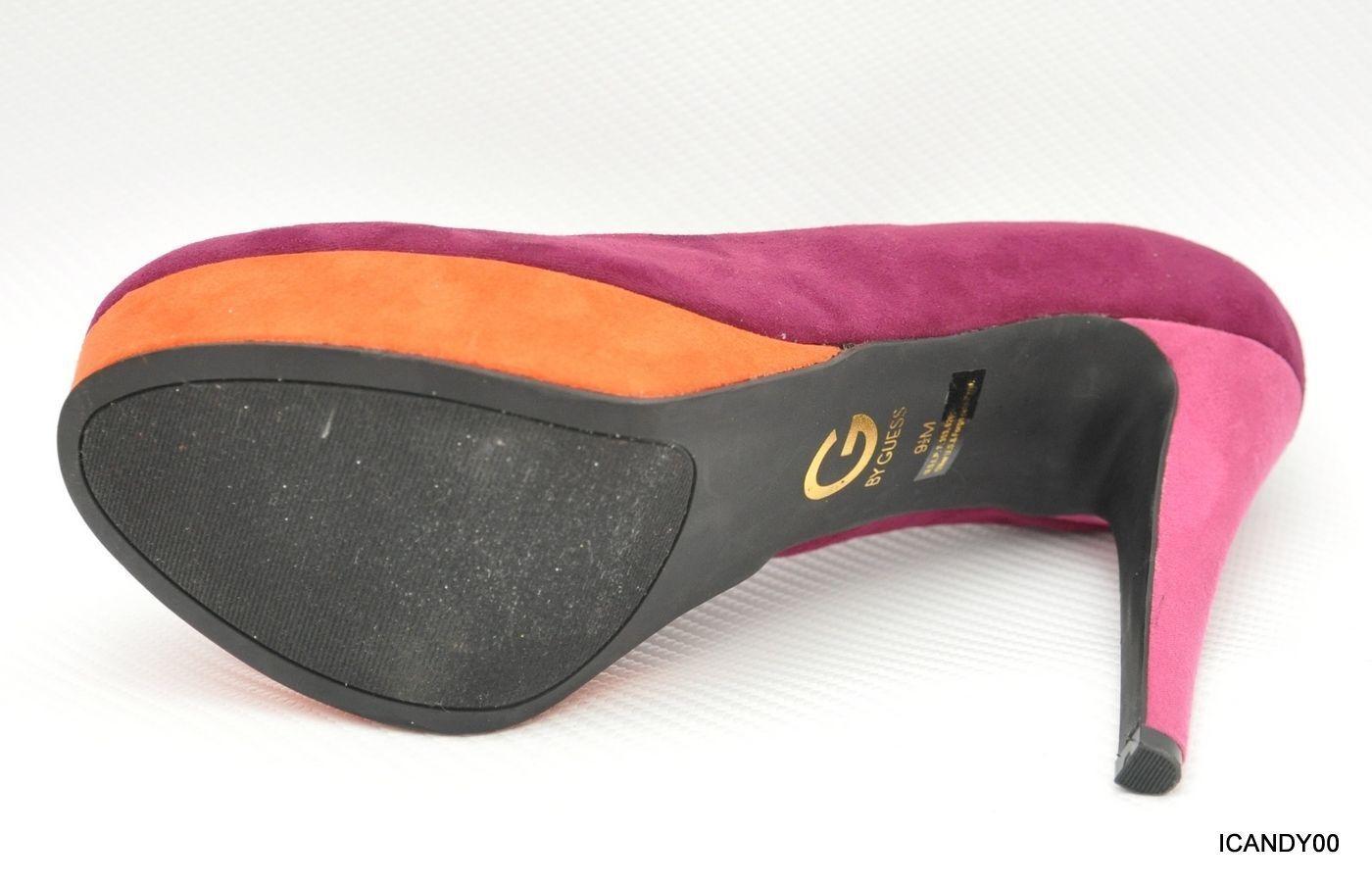 Nib G by Guess VABII Round Toe Suede Suede Suede Platform Pump Heel shoes Pink orange 9.5 d087db