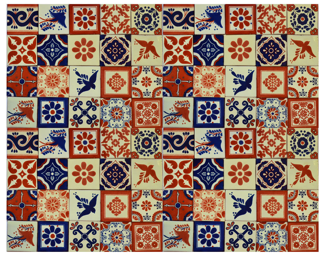 100 PCS MEXICAN TALAVERA  TILES 4x4 TERRACOTTA & Blau MIX FOLK ART