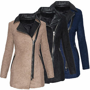 Mujer-Abrigo-de-invierno-chaqueta-parka-piel-sintetica-cuello-alto-Calido-d-244