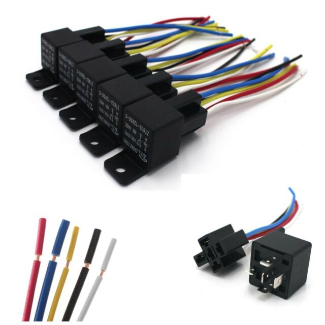 mictuning 12v 30 40 amp 5pin spdt automotive relay with wires relay wiring diagram in a box 5 pack 12v 30 40 amp 5 pin spdt automotive relay with wires &