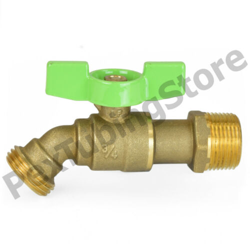 "125psi LEAD-FREE Brass 10 No-Kink 1//4-Turn 3//4/"" MNPT Hose Bibb Ball Valve"