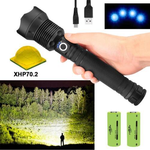 Adjustable Powerful Flashlight USB Torch Hunting Lamp Hand Light 29W 90000 lumen