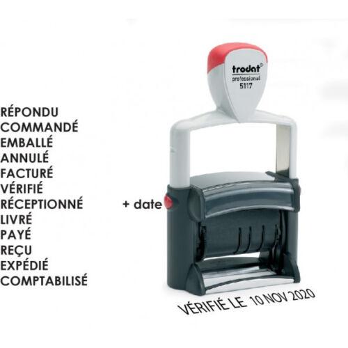 tampon dateur multiformule 12 formules 48 x 4 mm ref trodat 5117 métal line