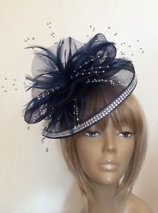 f6ba77ee4e281 Image is loading New-Bespoke-Navy-Silver-Hatinator-Fascinator-Mother-Of-