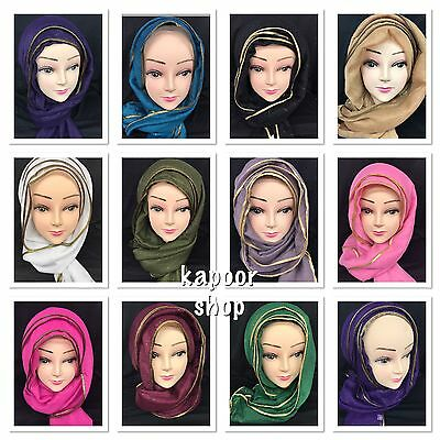 GLITTER PIPING Hijab Maxi Scarf Oversized Shawl Sarong scarves