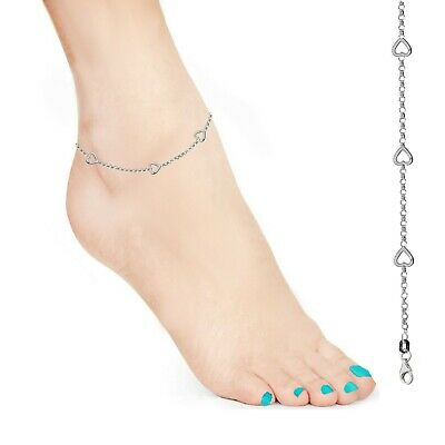Sterling Silver Heart Dangle Rolo Link Chain Anklet Ankle Bracelet 10 Inches