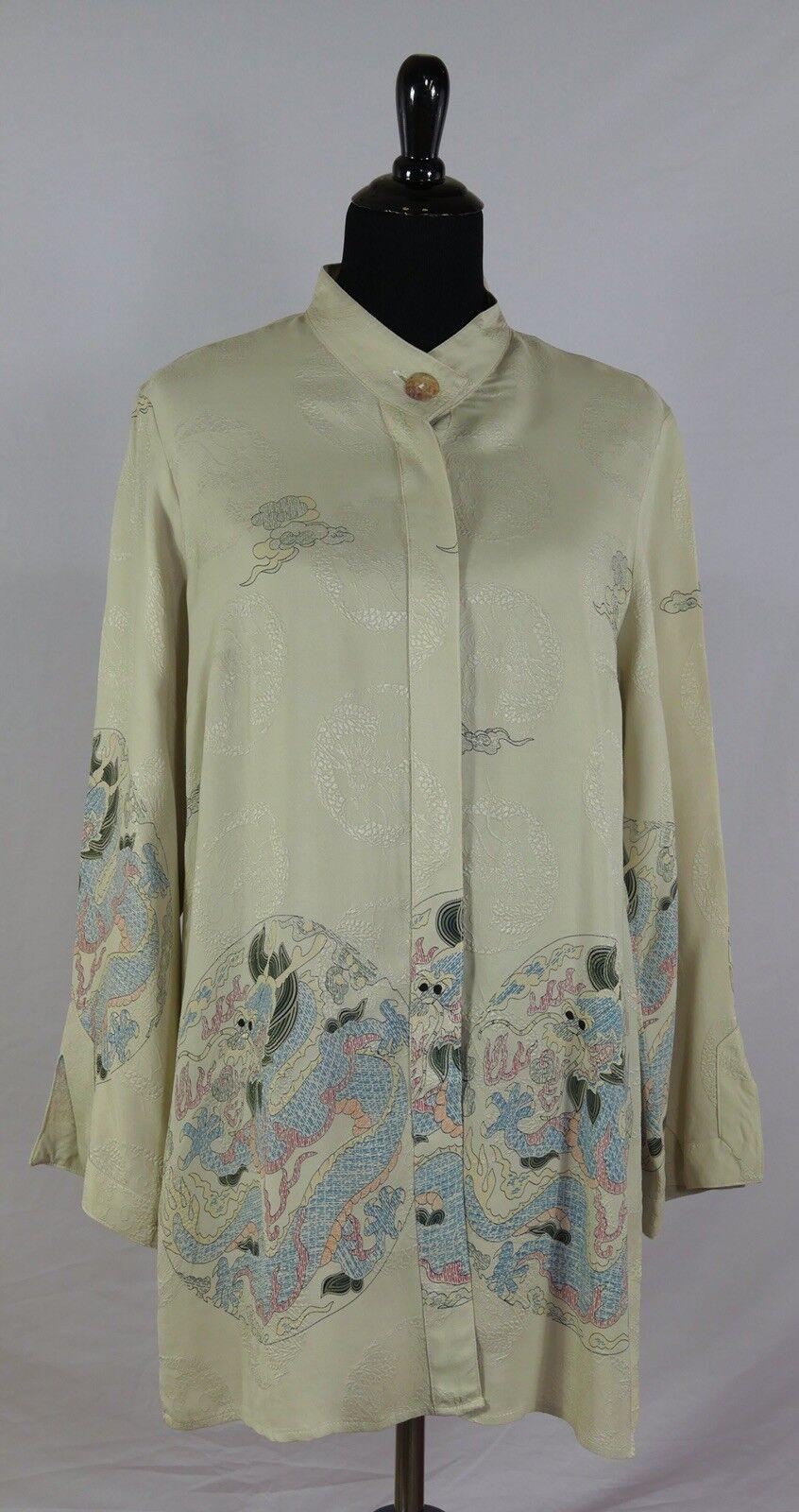 Citron Santa Monica Oriental Japanese Asian Dragons Blouse Jacket Duster Silk M