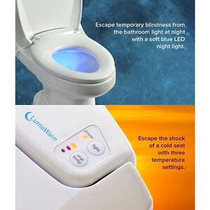 Heated Nightlight Toilet Seat Bath Blue Led Light Warm