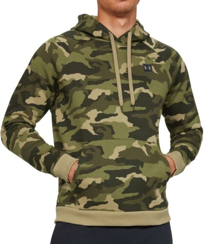 Under Armour Rival Mens Fleece Hoody Green Camo Stylish Gym Training Workout