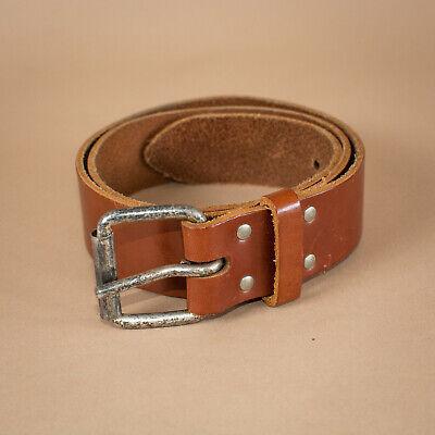 Amichevole Jeans In Pelle Marrone Unisex Cintura Fibbia In Metallo Vintage Xsmall Men's Small Donna-mostra Il Titolo Originale