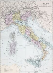 1887 Antique Map Italy Italy Sardinia Corsica Tuscany Rome Umbria